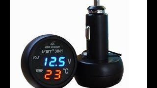Автомобильный индикатор напряжения и температуры  VST-706. Обзор.