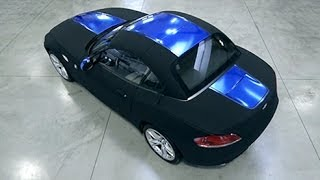 Car wrap Blue Chrome vinyl and Black Matt Nubuck - APA