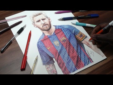 Incredible Lionel Messi Pen Drawing - FC Barcelona