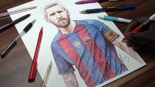 Messi Pen Drawing - FC Barca - DeMoose Art