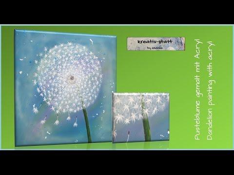 kreativ-statt Bild Acryl Malen Pusteblume – Painting Dandelion