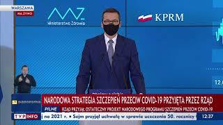 Szczepienia na COVID-19 w Polsce. Konferencja premiera Morawieckiego