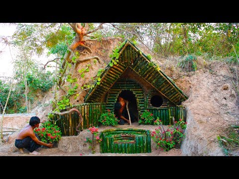 Build Beautiful Secret House Underground Using Bamboo