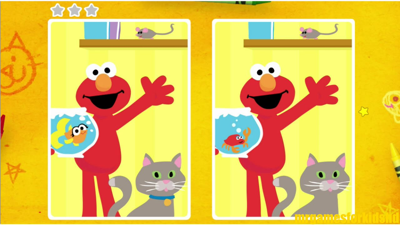 Sesame Street Spot The Difference Animals Children Game - YouTube