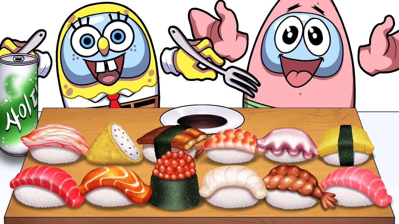 SpongeBob Among Us Mukbang Animation Sushi set eating