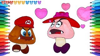 Goomba Coloring Pages Super Mario Odyssey 257 How To Draw Videos For Kids ¯リボーのデート Youtube