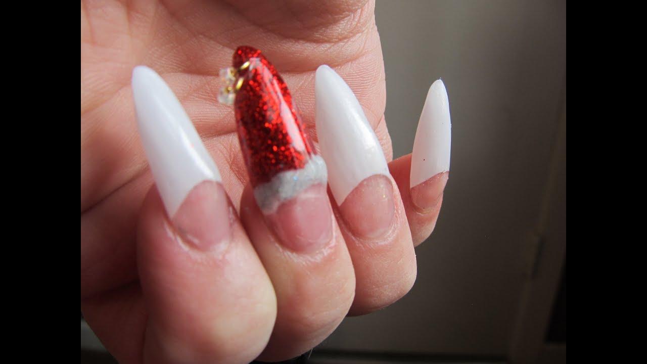 Christmas stiletto nail design - YouTube