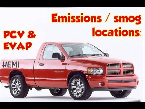 PCV, EVAP canister, purge valve Locations  Dodge Ram