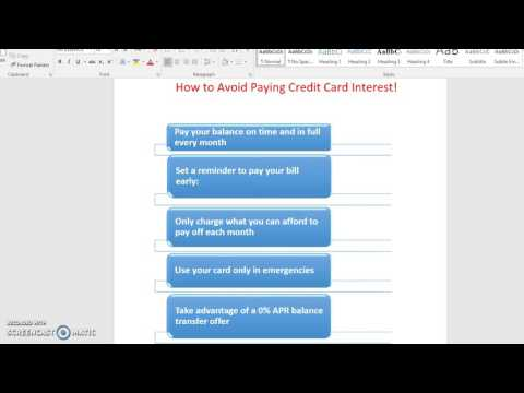 How to avoid paying Credit Card Interest!