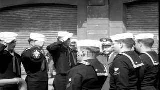 Generalissimo Chiang Kai-shek salutes officers lined up on deck of US Navy USS Sw...HD Stock Footage