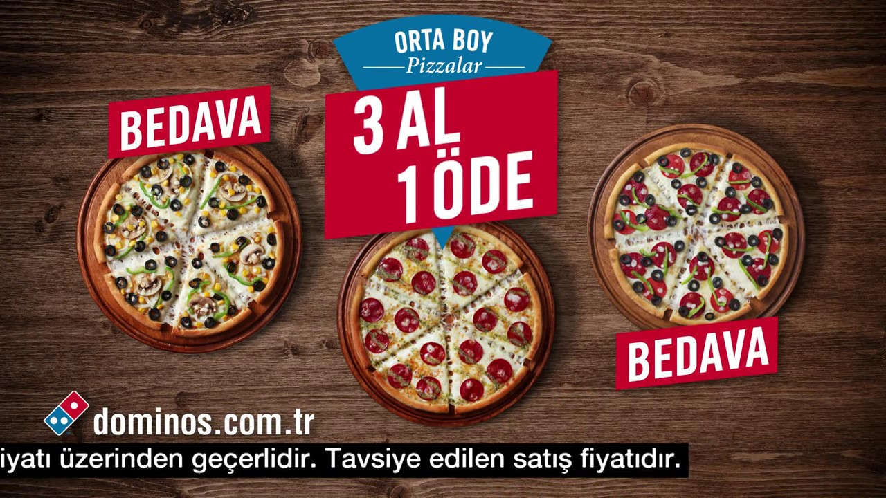 Dominostan Orta Boy Pizzalarda 3 Al 1 öde Youtube