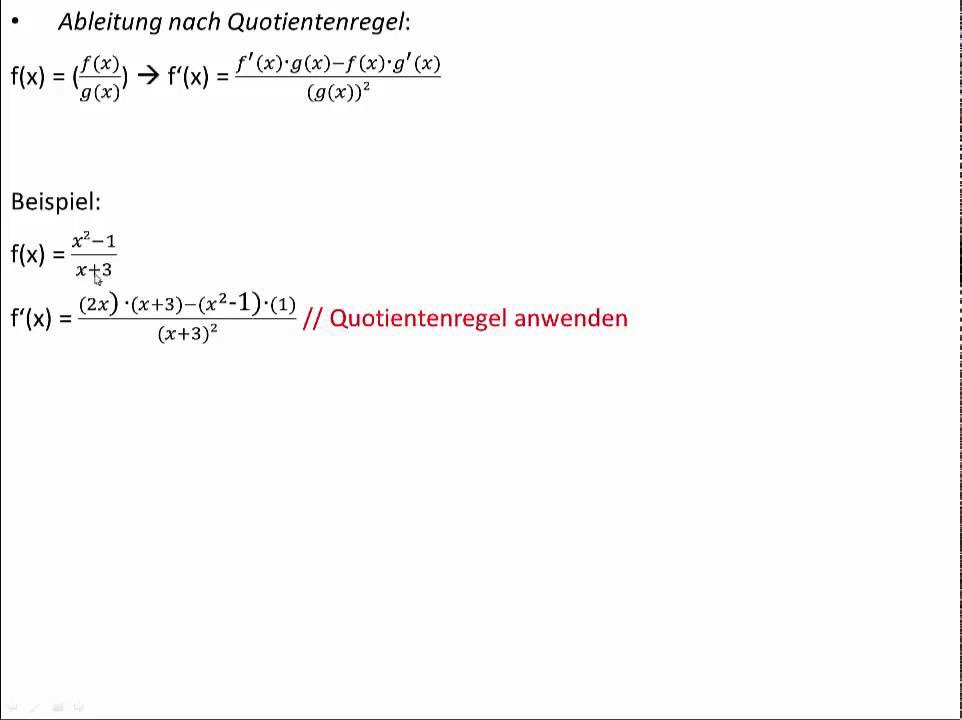 Ableitung mit der Quotientenregel - Quotientenregel einfach erklärt ...
