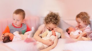 Siblings Finally Meet Newborn Sister