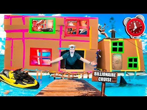 24 HOUR BILLIONAIRE BOX FORT CRUISE SHIP!  Gaming Room, Mini Golf, Toys & More!