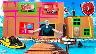 24 HOUR BILLIONAIRE BOX FORT CRUISE SHIP! 📦🚢 Gaming Room, Mini Golf, Toys & More!