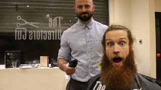Cutting off Ed Carthy's 12 Month Beard and Man Bun