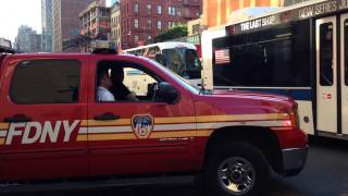 FDNY BATTALION 9 RESPONDING FROM QUARTERS ON WEST 48TH STREET IN MIDTOWN, MANHATTAN, NEW YORK CITY.