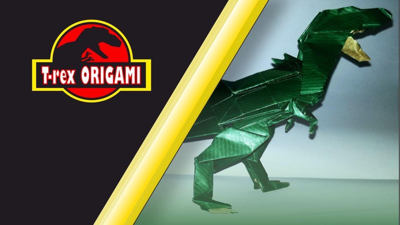 Origami Dinosaur - T-Rex 3D Head - YouTube | 720x1280