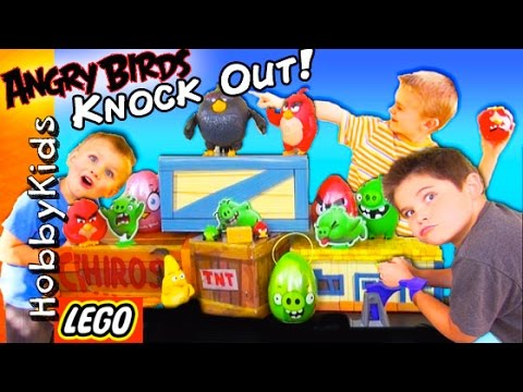 ANGRY BIRDS Game! Build Up and Knock Out Game Win SURPRISES + Hot Wheels Angry Birds Race HobbyKids