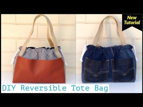 DIY REVERSIBLE TOTE BAG/DIY BAG/巾着バッグ 作り方/bolsa diy/bolsa de bricolaje/coubdre un sac/bagaกระเป๋าผ้า