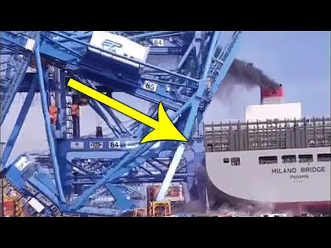 Out of control CONTAINER SHIP RAMS CRANES!!