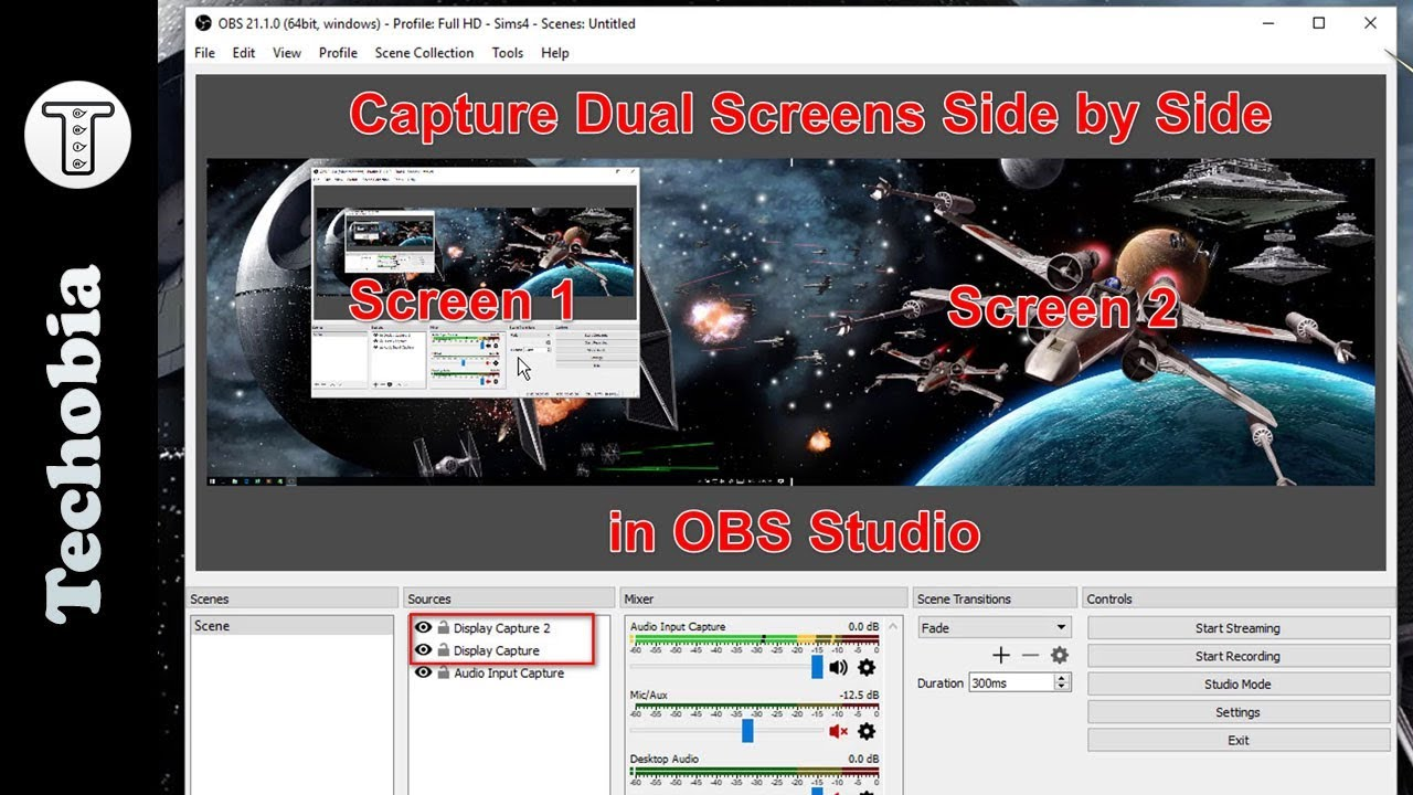 How to capture two Screens side by side in OBS studio | 2018