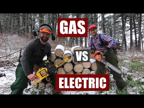 Gas Vs Electric Chainsaw Comparison | # of Cuts Tested, Cut Time, Battery Life