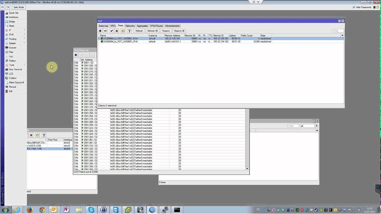 Mikrotik CCR Router BGP Peer