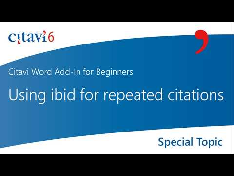 Citavi 6 Word Add-In: Using Ibid For Repeated Citations (2.9)