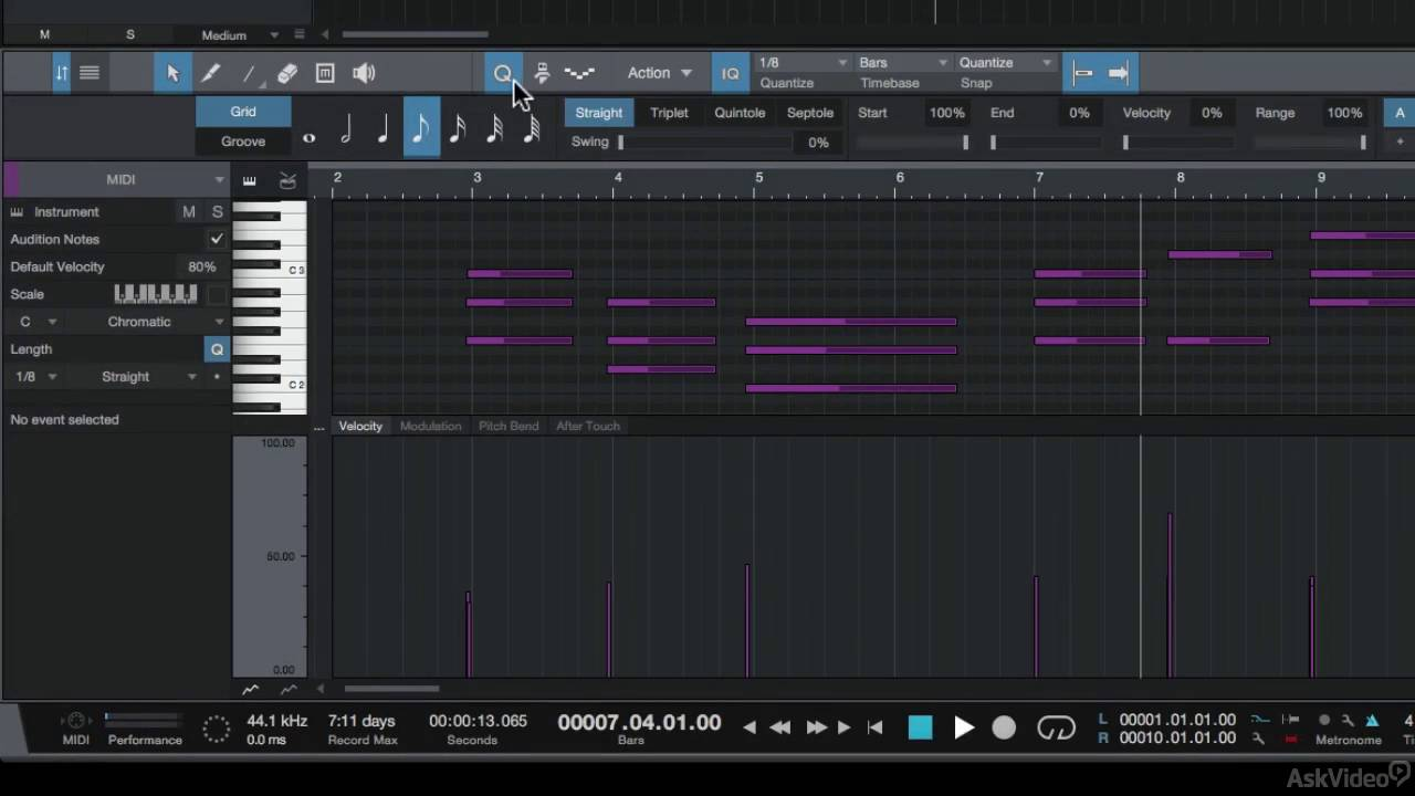 Studio One 103: MIDI Explained and Explored - 4  The MIDI Editor
