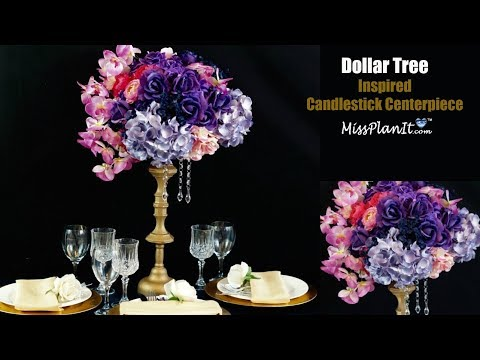 Dollar Tree Inspired Candlestick Centerpiece | DIY Tall Centerpiece | DIY Tutorial