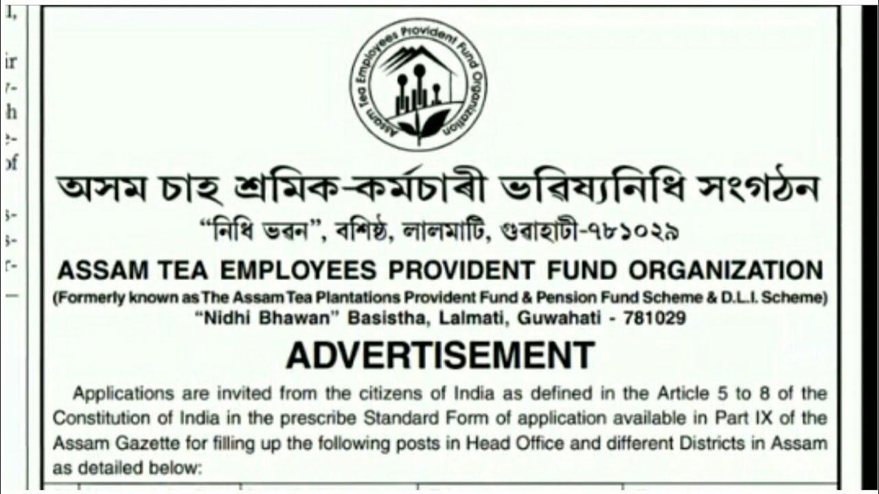 Assam Tea Employees Provident Fund Organization New Recruitment 2019 || By  Job Advertisment
