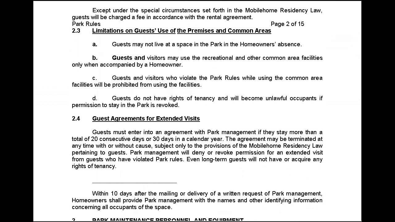 Los Amigos Mobile Home Park Rules