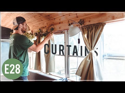 CHEAP & EASY DIY Curtains and Rods for Skoolie, van, RV or house!  -  E28