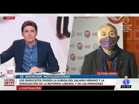 """Entrevista a Pepe Álvarez en el programa """"Las cosas claras"""" de TVE"""
