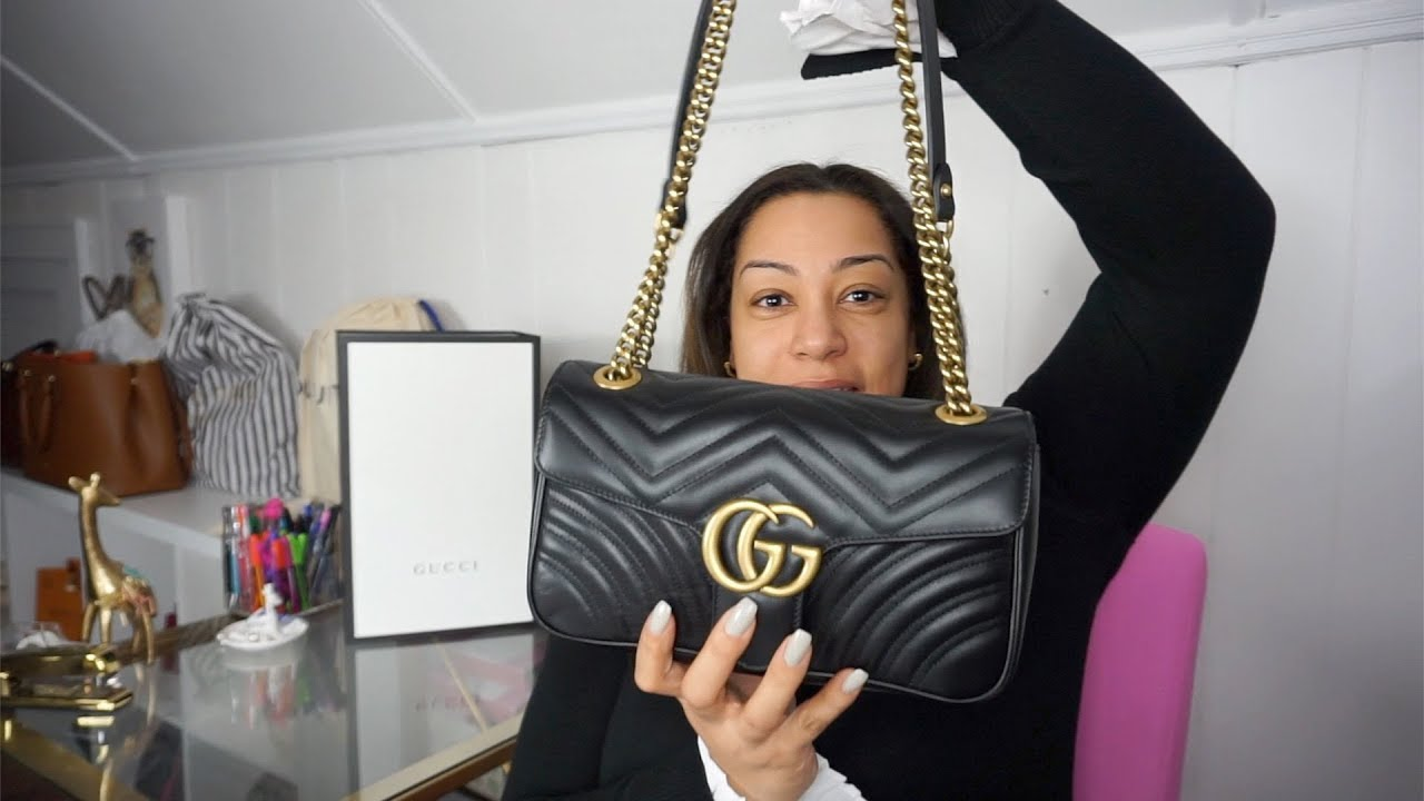 037d19d338561 Gucci Marmont Matelasse Small unboxing! Creasing issue  - YouTube