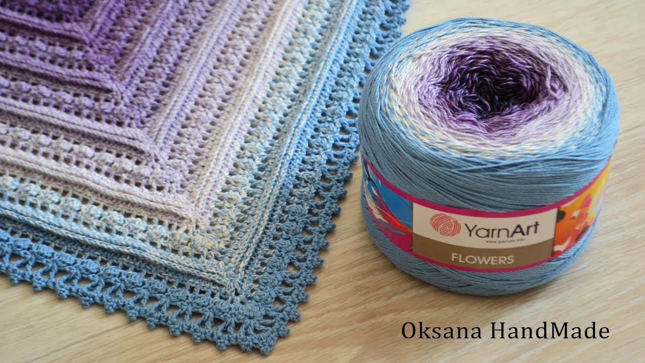 Обзор пряжи YarnArt Flowers и схема по вязанию шали. Shawl crochet