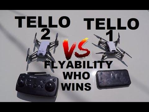DJI RYZE TELLO 2 vs TELLO 1 Flyability Test side by side comparison REVIEW