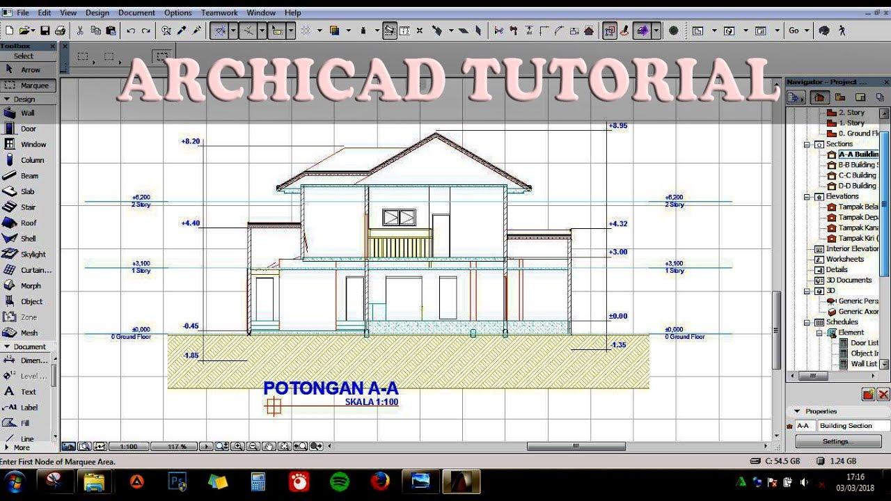 Archicad Tutorial 1 Jam Membuat Gambar Denah Tampak Potongan Dan Perspektif Bangunan 2 Lantai Youtube