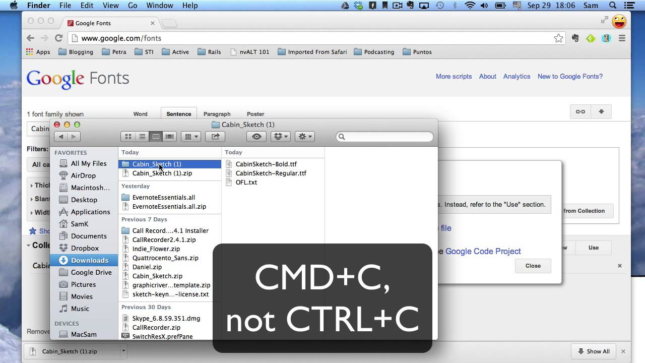 How to Install Google Fonts on Mac OS X