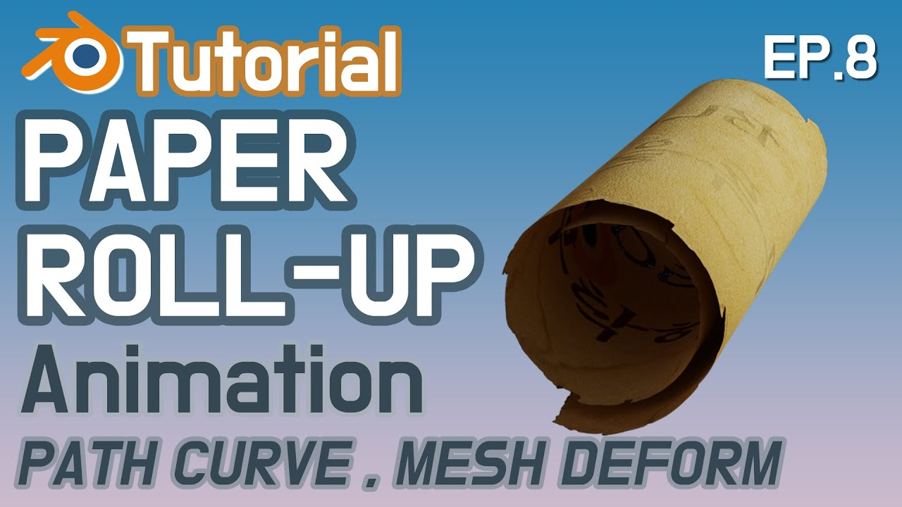 """Paper roll-up animation"" (블렌더 모델링 ""두루마리 종이"") #Blender 3d 기초"