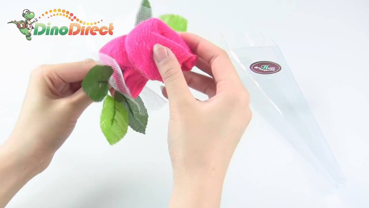 Towel shaped rose flower with white mesh wrapped wedding decoration dinodirect towel shaped rose flower with white mesh wrapped wedding decoration dinodirect youtube izmirmasajfo