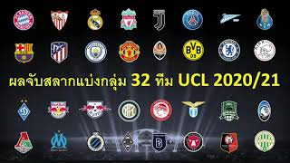 ผลจับสลากรอบแบ่งกลุ่ม 32 ทีม ยูฟ่า แชมเปี้ยนลีก / UCL 2020/21 ใครจะเจอกันบ้าง เปิดดูได้เลยครับ