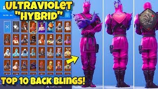 "NEW PURPLE ""HYBRID"" SKIN Showcased With BACK BLINGS! Fortnite BR (TOP 10 ULTRAVIOLET HYBRID COMBOS)"