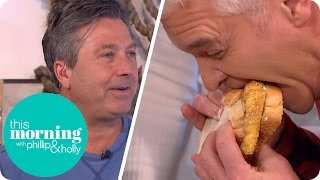 Phillip Tries to Get His Mouth Around John Torode's Immense Fish Finger Sandwich | This Morning thumbnail
