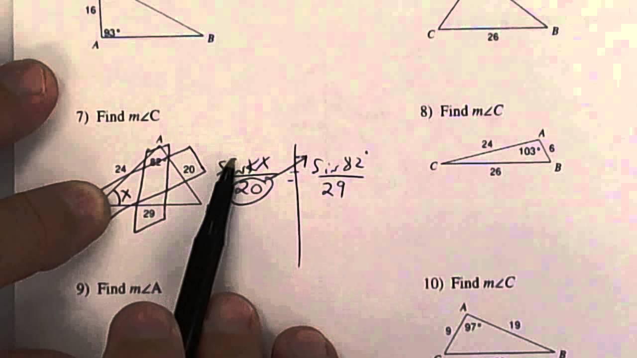 1 26 Law Of Sines Worksheet Youtube