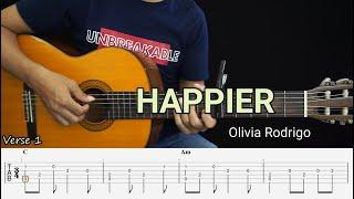 HAPPIER - Olivia Rodrigo - Fingerstyle Guitar Tutorial TAB + Chords + Lyrics