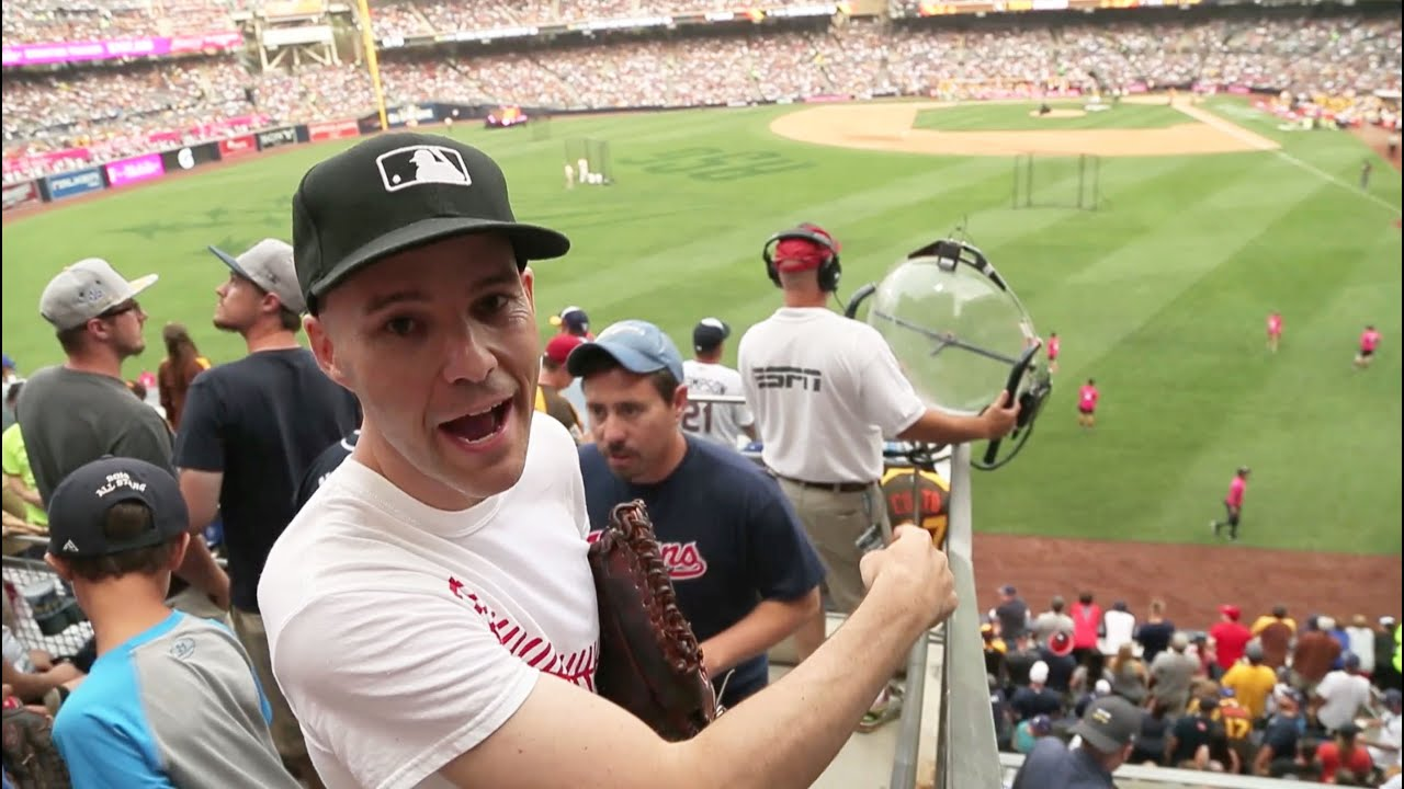 Catching baseballs at the Home Run Derby at PETCO Park