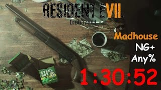 Resident Evil 7 NG+ Any% Madhouse 1:30:52 (World Record) with dirty coin