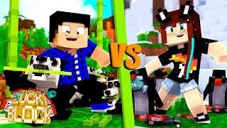 PANDA AZARADO VS PINGUIM ATRAPALHADO! - Minecraft Desafio de Lucky Block